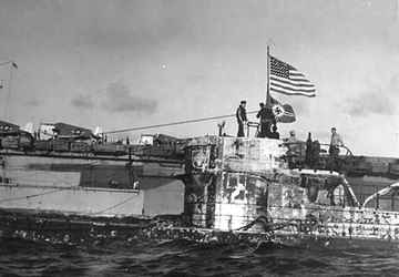 US Flag placed on U-505